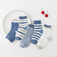 5 Pairs/lot Baby Boys Girls Stripes Socks Soft Cotton Infant Socks Cute Cartoon Pattern Kids Socks denim blue 0-1 year