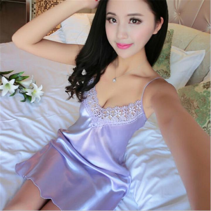 917f9ad434 Ladies Sexy Silk Satin Night Dress Sleeveless V-neck Nightgown Women Lace  Sleepwear Nightwear purple