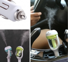 Car Charger Humidifier Mini Air Purifier Aroma Diffuser Auto Air Freshener Aromatherapy Mist Maker pink With logo