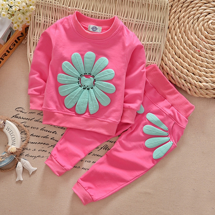 bb34a7ac4 2pcs Toddler Sunflower Suit Spring Autumn Children Clothing Baby ...