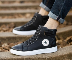 Men Fashion Causal Shoes Front Lace-Up Leather Ankle Boots Flat Shoes High Top Canvas Sports Shoes black 37
