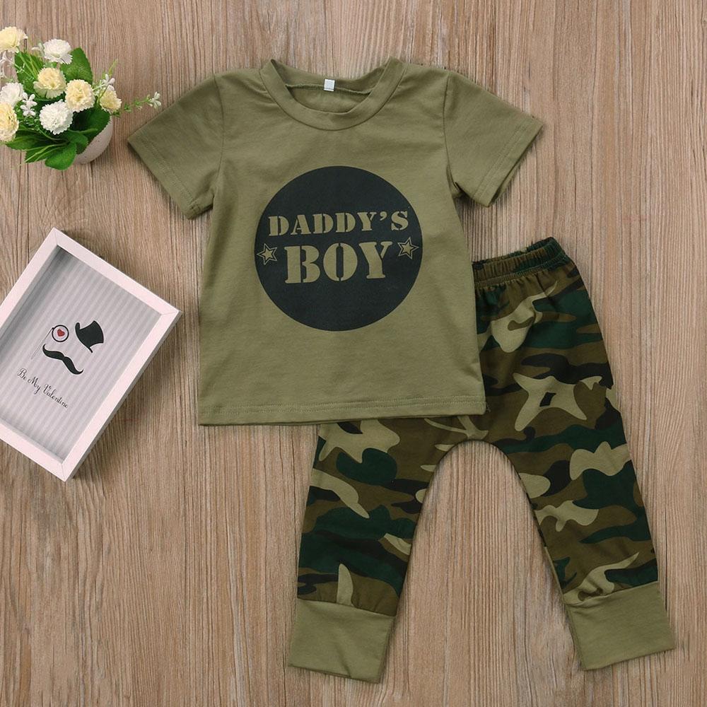456ed74c2f34 Newborn Toddler Baby Boy Girl Cotton T-shirts Pants Outfits Set ...