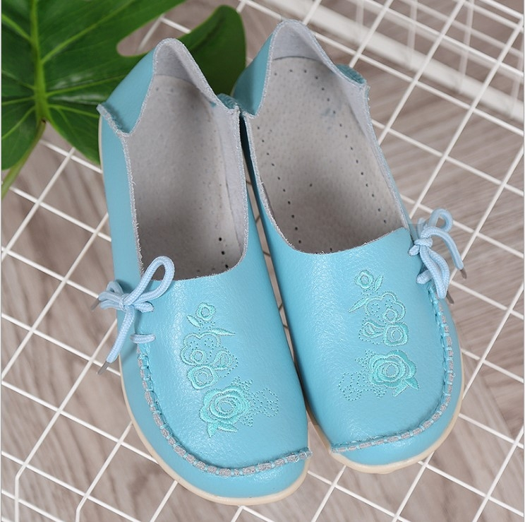 930f3df9733e1 Women Fashion Shoes Genuine Leather Flat Shoes Slip on Shoes Lace Up ...