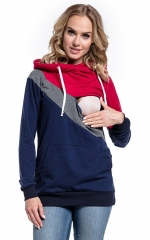 Maternity Clothes Breastfeeding Tops Hoodies Women Nursing Tops Patchwork Autumn Winter Clothes red s