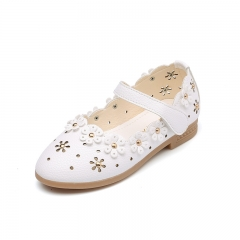 Kids Shoes Baby Girls Toddler Single Shoes Spring Autumn Hollowed Out Flowers Shoes Princess Shoes white 26