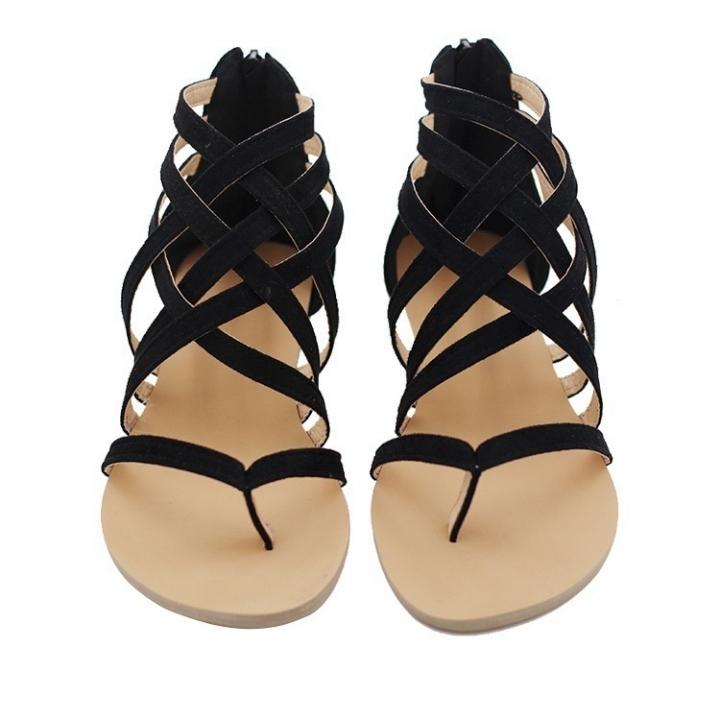60812d225 Women Sandals Beach Shoes Gladiator Sandals Summer Shoes Flat Sandals Rome  Style Cross Tied Sandals black