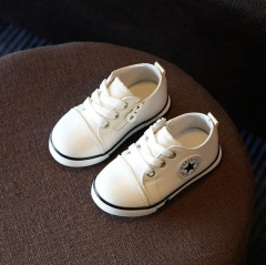 Baby girls boys spring autumn casual canvas shoes kids sneakers children soft breathable flat shoes white 23