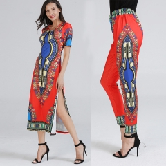 Women Fashion Clothes Printed Short Sleeve Dress Long Pants Two Pieces Set Casual Shirts Trousers red Free size
