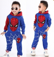 Baby Boys Spring Autumn Spiderman Sports 2 Pieces Set Tracksuits Kids Casual Hoodies Coat Tops Pants blue 100 cm