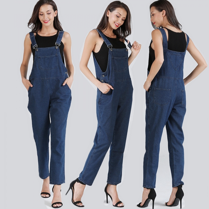 a152c13ae586 Women Jeans Denim Trousers Elastic Casual Pants Ladies Jeans Strap Jeans  Jumpsuits blue s