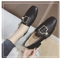Women Shoes Square Toe Thick Heel Buckle Medium Pumps Ladies Heels Women Casual Slippers Work Boots black 39