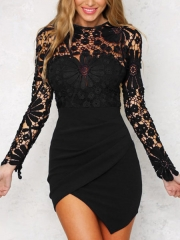Women Sexy Lace Dress Summer Hollow Cotton Flowers Dress Evening Party Dress Ladies Casual Dress xl black