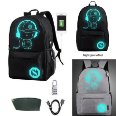 Luminous Noctilucent USB Charger Backpack Casual School Bag+ Anti-Theft Lock BLACK one size