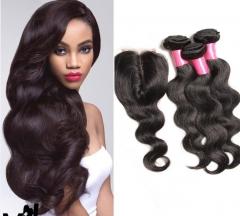 3 piece Brazilian human hair weaves with a lace closure body wave virgin hair 1B 24 24 24+18