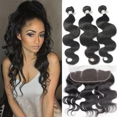 3 piece Peruvian human hair bundles with a lace frontal 13x4 closure unprocessed human hair 1B 16x3+14