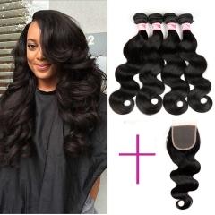 4 pieces Brazilian human hair bundles with a 4x4 lace closure body wave virgin hair 1B 8 8 8 8inch