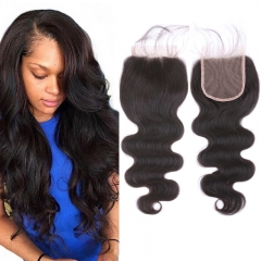 7A Grade Brazilian Virgin Human Hair Lace Closure Body Wave 8 inch, Free Part Can Part anywhere