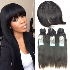 3 Pieces Brazilian Straight Virgin Raw Human Hair Weaves With a Clip in Human Hair Fringe 1b 18 18 18inch