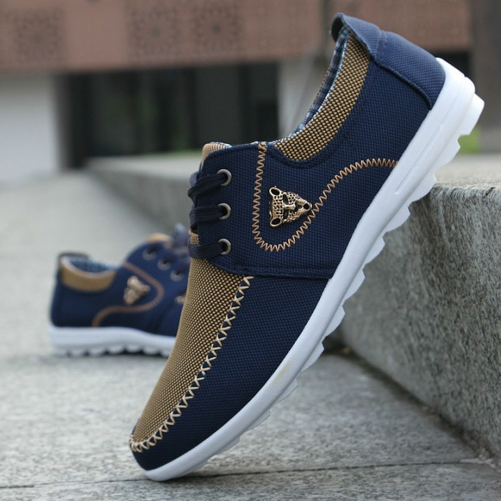 cca6e19fc80 new brand canvas casual men shoes british loafers flats mens masculino  jogging driving shoes ink blue