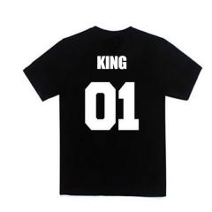 New Fashion T-shirt Men Women's Fashion Clothes Street Punk Hip-hop King Queen Design Fashion black S Pure cotton