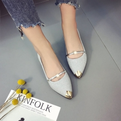New Female Pointed Shoes Flat Shoes Pearls Single Shoes Mother Shoes Bean Shoes Nurse Shoes Flat silvery 40