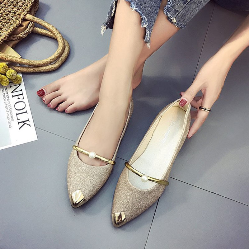 1feae6571e89 New Female Pointed Shoes Flat Shoes Pearls Single Shoes Mother Shoes ...
