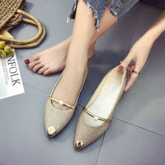 New Female Pointed Shoes Flat Shoes Pearls Single Shoes Mother Shoes Bean Shoes Nurse Shoes Flat Golden 35