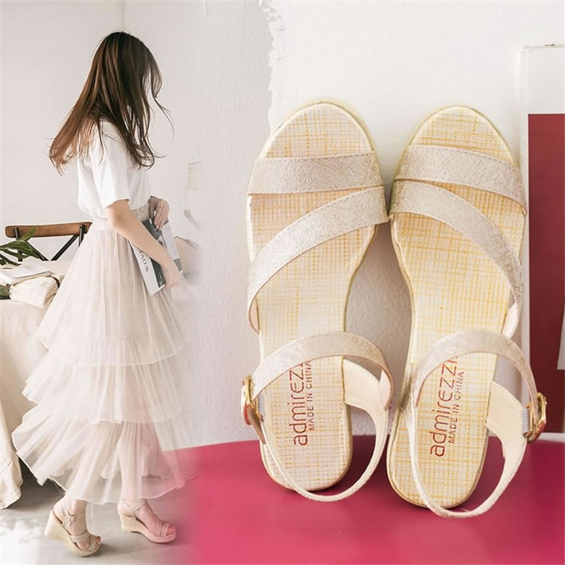 e2e56868d99c Summer New Sandals Ladies Shoes Adhesive Shoes Pure Color Slope and ...