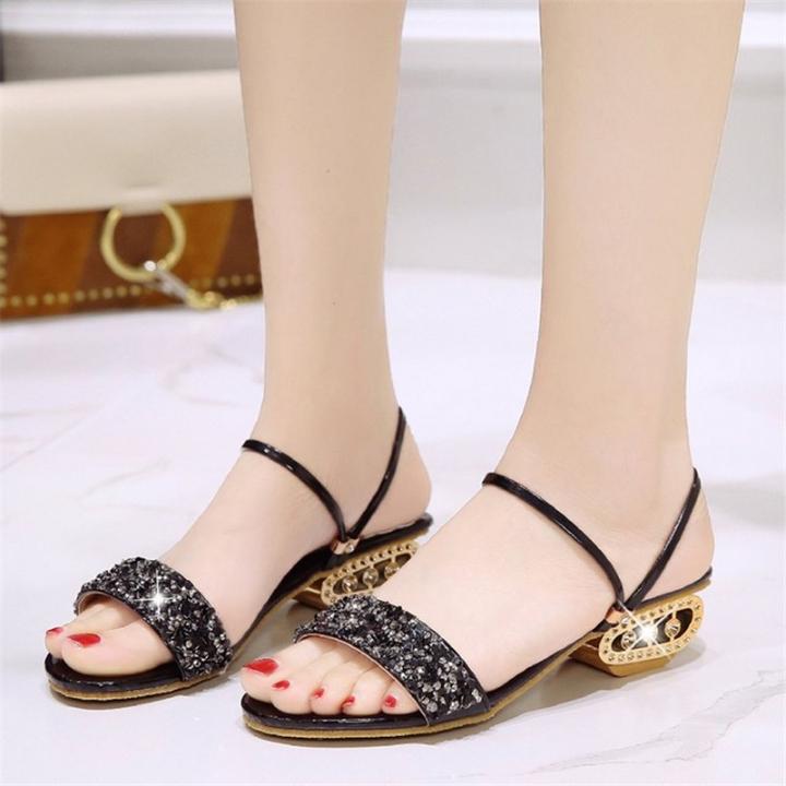 b00ea7ab576 Summer New Women s Square Heels Two Rubber Wrist Trips Korean ...