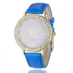 Leisure Geneva Ladies Leather Strap Watch Watch Diamond Watch Female Fashion Watch Strap blue