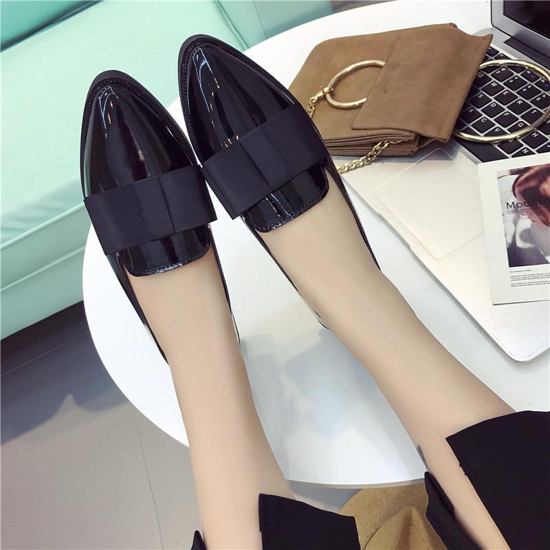 621a6384860f Korean Model Bow Tie Black Single Shoe Female Flat Bottomed Work ...