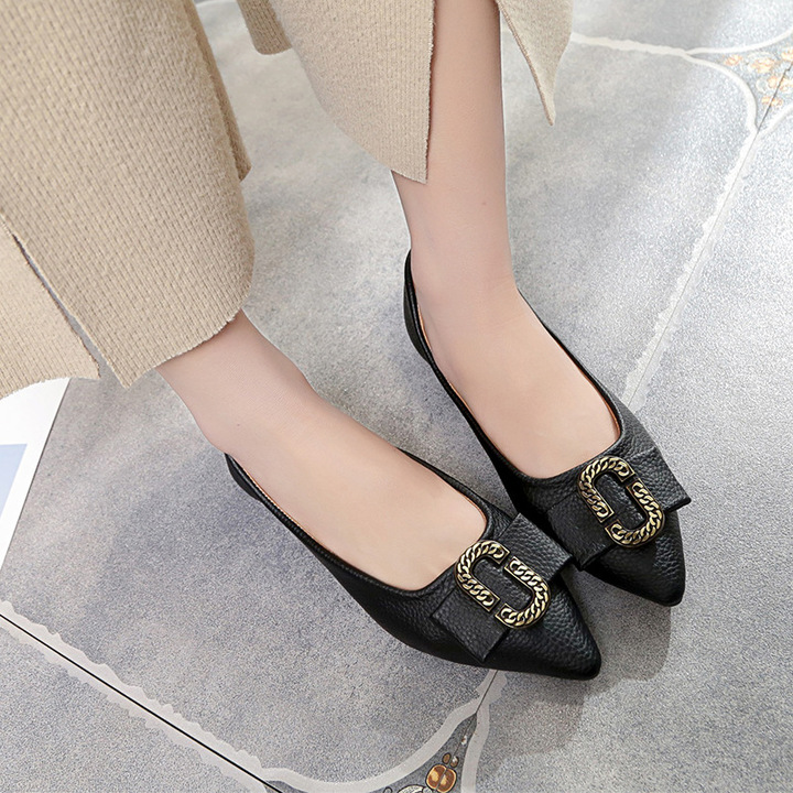 fe3d125fc205 New Korean Version Bean Shoes Single Shoes Flat Bottomed Comfortable Shoes  Student Work Shoes Casual black