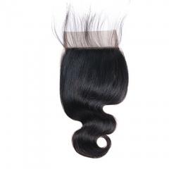 BHF 4*4 Lace Closure 9A Virgin Body Wave Hair Weaves Brazilian Human Hair 8-20  Inch Natural Black free part 8