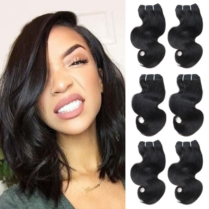 "BHF Peruvian Body Wave Virgin Hair 4 Bundles 100% Human Hair Extensions 8-24"" 50G/PC Weaving Natural Black 14 14 14 14"