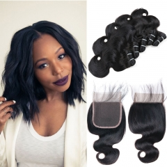 Indian Body Wave Virgin Hair 5 Bundles With Closure 50G 8A Grade Human Hair Weave With Lace Closure Middle Part 14