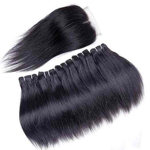 BHF Straight Hair With Closure Brazilian Virgin Hair Weave 4 Bundles 50G Human Hair With Closure Free Part 14