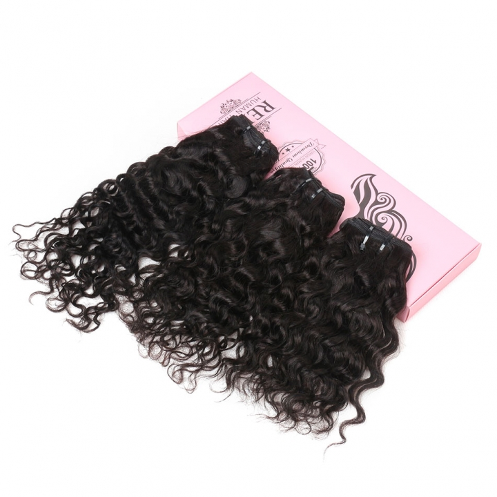 "BHF 8A Brazilian Water Wave 50g/PC Hair Weave 3 Bundles Human Hair 8-14"" Natural Black Virgin Hair natural black 14 14 14"