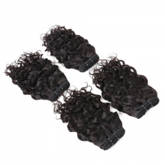NHF Indian Water Wave 4 Bundles Natural Color 8A Unprocessed Water Curly Weave Human Hair 50g/pcs natural black 14 14 14 14