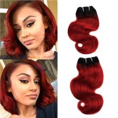 BHF Ombre Brazilian Body Wave Human Hair Bundles 1pcs T1B/Red Burgundy Brazilian Hair Wine Red Hair t1b/red 8