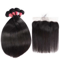 BHF Peruvian Straight Hair Weave 13*4 Lace Frontal Closure With Human Hair 4 Bundles With Frontal natural color free part 8 8 8 8+8