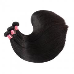 BHF Peruvian Virgin Straight Hair 3 Bundles Double Weft Human Hair Weave Bundles 8-26