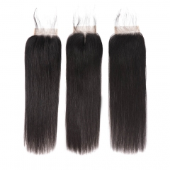 9A Malaysian Straight Hair Lace Closure Natural Color 4*4 Malaysian Virgin Hair Closure 8 to 20