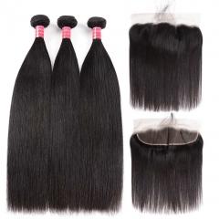 BHF Peruvian Straight Hair 3 Bundles With Human  Virgin Hair Bundles With 13*4 Lace Frontal Closure natural color free part 8 8 8 +8