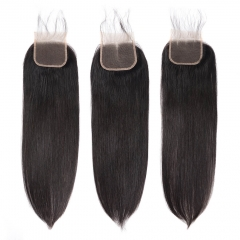 BHF 9A Human Hair 4x4 Brazilian Lace Closure Straight With Baby Hair Free Middle Three Part free part 8