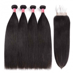 BHF Peruvian Straight Virgin Hair Weave 4 Bundles With 4*4 Lace Closure Free Middle Three Part 8-26