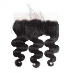 Lace Frontal Closure Malaysian Hair Body Wave 13x4 Human Hair Closures With Baby Hair Natural Color natural color 8