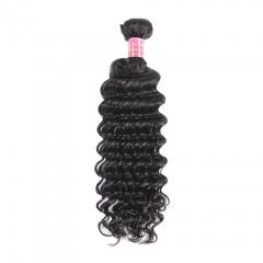 BHF Deep Wave Brazilian Hair Curly Weave 1 Bundle 100g Virgin Human Hair Weaving Natrual Black 8-26