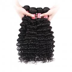 BHF Raw Indian Deep Wave Hair Weave Bundles 4PC Natural Color Indian Human Hair Weave Bundles 8-26