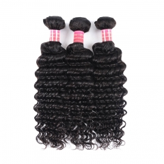 BHF 100g/Pc Brazilian Deep Wave 3 Bundles  Hair  Weave Virgin Human Hair 8-26'' Natural Black natural Black 8 8 8