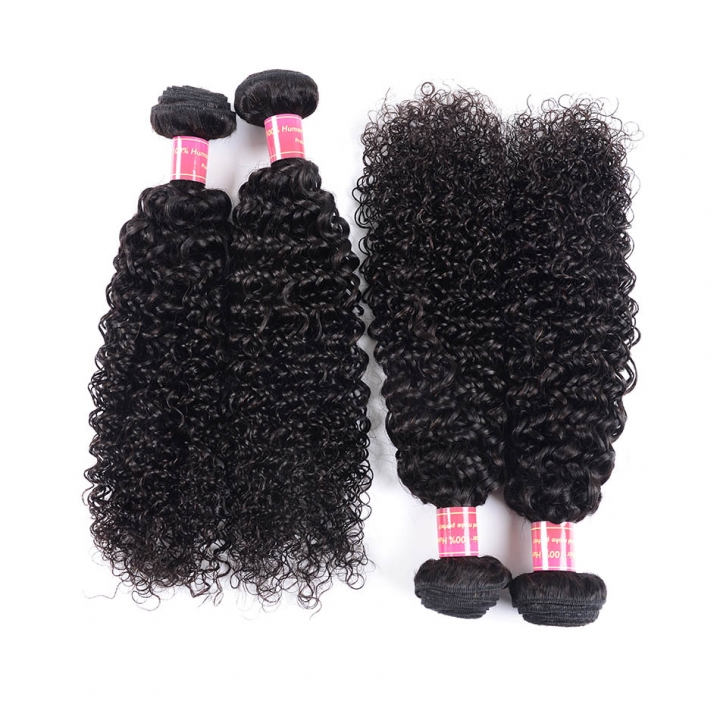 "BHF Afro Kinky Curly Hair Brazilian Hair Weave Bundles 9A Unprocessed Virgin Hair 4 Bundles 8""-26"" natural color 10 10 10 10"